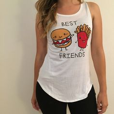 Burger & Fries BFF Top Cutest top ever! BFF Burger and Fries. Brand new. Never worn. Available in S-M-L. True to size. Hangs loosely for relaxed style. No trades. No offers will be considered unless made through the offer button. Bundle 3+ items to receive 15% off your total purchase! Thank you! Tops Tank Tops