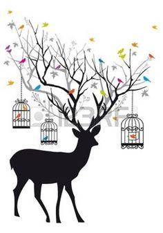stag: Deer with colorful birds and birdcages, background illustration Illustration