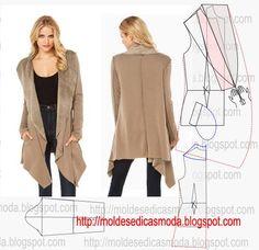 Passo a passo de molde de casaco. No blogue existem bases largas, semi-largas e justas em diversos tamanhos.