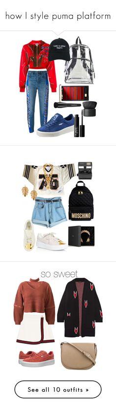"""how I style puma platform"" by annabidel ❤ liked on Polyvore featuring Golden Goose, Moschino, International, Puma, NARS Cosmetics, Arbonne, Nasaseasons, adidas, Chicnova Fashion and Versace"