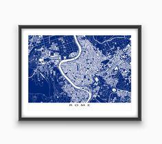 Rom-Print, Rom Karte Kunst, Rom Italien, Blueprint-Stadtplan