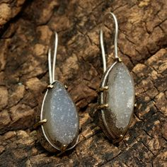teardrop druzy dangle earrings in silver setting with brass accent prongs