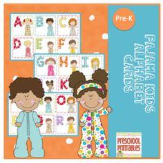 Pajama+Kids+Alphabet+Cards+from+Preschool+Printables+on+TeachersNotebook.com+-++(9+pages)++-+Uppercase+alphabet