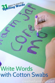 Write Your Spelling Words with Cotton Swabs: Part of the 31 Ways to Practice Spelling Words series