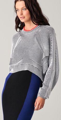 Alexander Wang Bicolor Ribbed Sweater