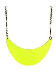 Neon Yellow Dappled Metal Crescent Collar Necklace