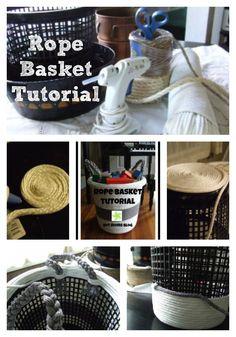 Rope Basket Tutorial- made from a dollar store basket! #DIY #basket