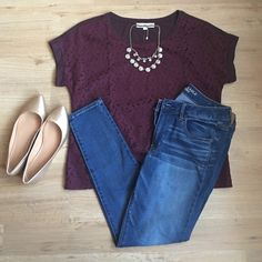LOFT Short sleeve blouse! Maroon cotton back short sleeve shirt with a laced floral front. Perfect for a date night or njght out with the girls. LOFT Tops Blouses