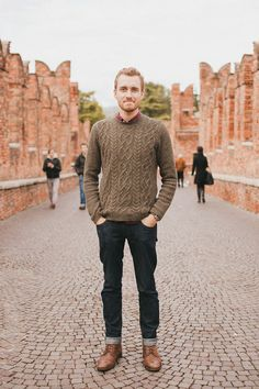 guys: this is how you rock a really good crew neck sweater. Sharp Dressed Man, Well Dressed Men, Sweaters And Jeans, Men Sweater, Sweater Boots, Knit Sweaters, Jumper, Cuffed Jeans, Outfits