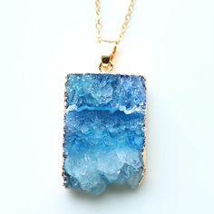 nature druzy stone pendant gold color necklace for women