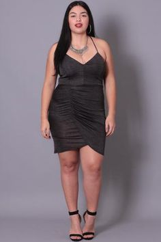 Plus Size  Ribbed Knit Ruched Halter Dress - Charcoal