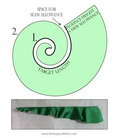 A tutorial on how to make flounces: how to draft the circular- and spiral flounce pattern and their variants and how to add flounces to a garment pattern. Dress Sewing Patterns, Vintage Sewing Patterns, Clothing Patterns, Pattern Drafting Tutorials, Fabric Manipulation Techniques, Collar Pattern, Circle Pattern, Fashion Sewing, Fashion Fashion