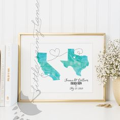 Two states love - wedding present Customize this piece of art for you or for a wedding gift! You will love the 76 watercolors to choose from, as