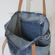 bolsa de lona Denim con un montón de bolsillos  jeans bolso