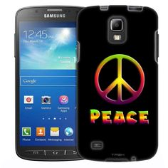 Samsung Galaxy S4 Active Abstract Peace Art on Black Slim Case