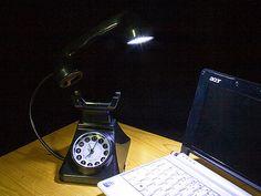 USB Desk Lamp Light Retro Telephone Light with Alarm Clock