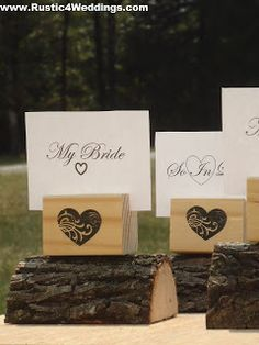 Rustic 4 Weddings: Heart Stamped Wood Place Card Holders or Table Number Holders For Rustic Weddings Or Other Events
