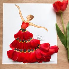Dress made out of tulip petals by Edgar Artis