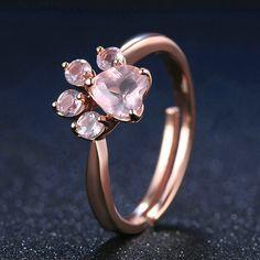 Rose Quartz Paw Resizeable Ring
