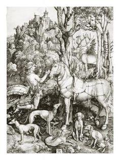 """""""Saint Eustace"""" print - Prints by printmaker Albrecht Durer (1471-1528) http://www.globalgallery.com/search/artist/albrecht+durer #Art"""
