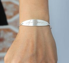 Handwriting Engraving Oval Shape Bracelet - Signature Bangle - Memorial Signature - Sterling Silver / 18K Gold Plated by LilyLilyJewelry on Etsy https://www.etsy.com/listing/209218150/handwriting-engraving-oval-shape