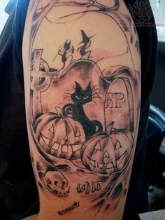 halloween Tattoos | Halloween Half Sleeve Tattoo  I only like the figures in background on this one