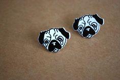 Dog Earrings  Pug Studs Pug Earrings Black and White by Ear2There