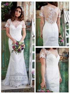 Honesty is a lovely all over lace gown with illusion neckline and soft sleeve and a slim A line skirt.