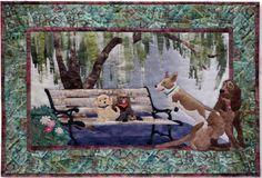 """Pine Needles Dog Park Bench Warmers Block Six 31 1/2"""" x 21 1/2"""" by McKenna Ryan Applique Quilt Pattern"""