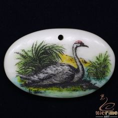 Amazine Scrimshaw Pendant  Carved Hand Painted Swan Rubber Stamp ZL20910 #ZL #Pendant
