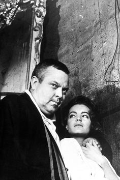 Orson Welles and Romy Schneider on the set of The Trial (Le Procès) (1962). Director: Orson Welles.