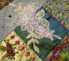 Crazy quilting with embroidery work