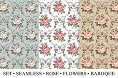 Set Seamless Rose Flowers Baroque Graphics by Vintage in Graphics Patterns   VECTOR. Set of high quality, carefully drawn deta by Vintage