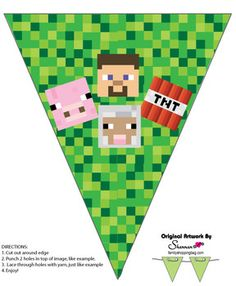 free minecraft printables: banner, bookmarks, stationery, invitations