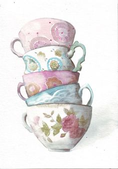 Original art watercolor Tower of Teacups painting