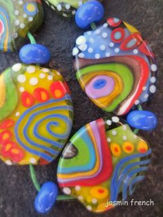 jasmin french pancake layers lampwork beads set sra