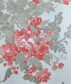 Ginevra Wallpaper Large flower design in raspberry and taupe on cream.
