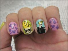 Johny Bravo nail art.