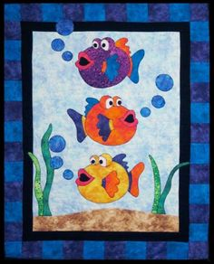 This Ocean Baby Crib Fish Crib Ocean Toddler Quilt, Beach Gender Neutral Fish Ocean Nursery Theme Appliqued Batik is just one of the custom, handmade pieces you'll find in our quilts shops. Fish Quilt Pattern, Baby Quilt Patterns, Applique Patterns, Applique Quilts, Quilting Patterns, Fish Patterns, Quilting Ideas, Cute Quilts, Small Quilts