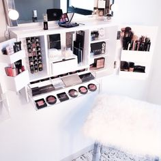 Wall Mounted Makeup Organizer Vanity by bleachla on Etsy