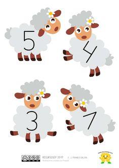 """¡Hola a todos! Hoy tenemos a la vista un juego para trabajar la numeración en Educación Infantil. El juego lo he denominado """"Cada oveja con su pareja"""". El material está formado por 12 o… Lessons For Kids, Math Lessons, All About Me Book, Home Learning, Fun Math, Childhood Education, Farm Animals, My Books, Kindergarten"""