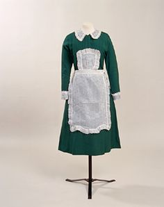 Parlourmaid's uniform from 1933-1937 (item 1953.392/5 from the Manchester City Galleries). Traditional servant's uniforms were worn well beyond the First World War, up to the 1930s, although reliable staff became increasingly difficult to secure, as the lowly salaries, arduous work and personal restrictions were unpopular amongst people with new choices afforded by technology.