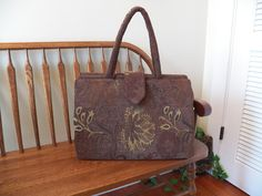 Nicole Cocoa Chenille Tapestry Weekender #2134T  My BIG Beautiful Bags all Handmade by Me~Tapestry Bag~Old Fashioned Style Carpet Bag~ by SignsofWelcome on Etsy