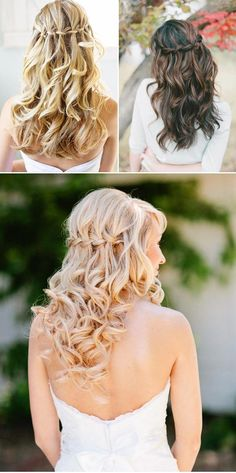Waterfall braids took over Pinterest this year, and for good reason. A braid adds so much to any hairstyle, and this one from Praise Wedding incorporates a half-up feeling as well. Curls can be as tight or loose as you want them to be. Make sure the hair falling from the braid is curled with the rest of your hair.
