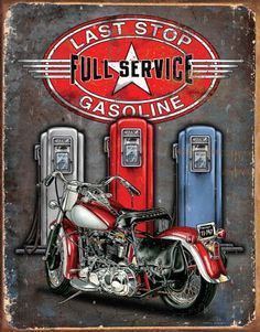 Last Stop Gas Motorcycle Funny Tin Sign Garage Bar Pub Diner Cafe Home Wall Decor Home Decor Art Poster Retro Vintage >>> You can find out more details at the link of the image. Retro Poster, Posters Vintage, Tin Signs, Wall Signs, Vintage Advertisements, Vintage Ads, Etiquette Vintage, Deco Retro, Kunst Poster