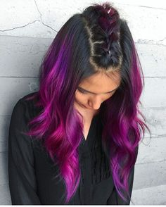 Hair Color 2018 Dark Purplish Pink Black ❤️ Dark purple hair is quite bold, and that is a fact. But if to compare dark purple hues with purple hues, the former are more mature and sophisticated. Dark Purple Hair Color, Bright Hair Colors, Ombre Hair Color, Purple Hues, Hair Colour, Teal Orange, Pink Yellow, Blue Green, Colourful Hair