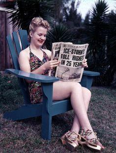C.1940s fashion style color photo print ad playsuit bathing suit play suit floral halter wood platform sandals shoes heels espadrilles lace up 40s