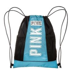 Victoria's Secret PINK Drawstring Backpack Color: Blue/ Black and White Lightweight, cute and down for anything. In other words, meet the perfect campus companion. Only by Victoria's Secret PINK. Styl