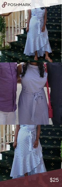 Gorg NY&Co Dress! Perfect summer dress. Blue & white stripe. I rec'd tons of compliments on it. Im 5'1 and the length is perfect. I can wear heels or flats with it. I am usually a 10 in NY&Co & got this in an 8. The 8 was still too big! So it runs big. I have hips & this dress camoflouges them. Very flattering. First pics are me wearing the dress. I got some make up on it. See pics. Im sure it will come out with a dry clean. This dress is listed on NY&Co website for $35. You will not be…