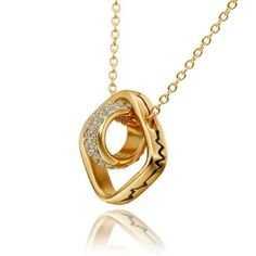 18K Yellow Gold Plated Double Square and Circle Crystal Accent Pendant Necklace